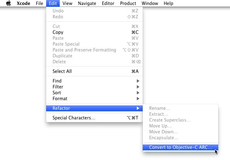 使用Xcode自带的转换ARC工具