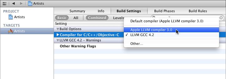 选择LLVM compiler 3.0